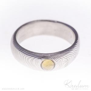 Siona damasteel, vzor čárky + citrín kabošon, velikost 57, šířka 6 mm, citrín 4 mm - Etsy 152
