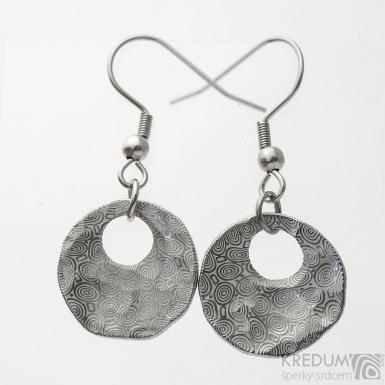 Vizia Natura - kované kulaté dámské náušnice z nerez oceli damasteel - vzor kolečka, světlé - sk3741