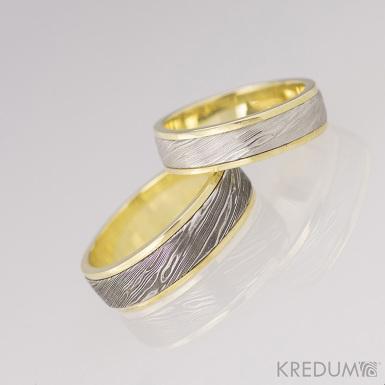 Kasiopea yellow - voda - Zlaté snubní prsteny a damasteel