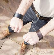 Kožený náramek - Manus 35 černý a hnědý