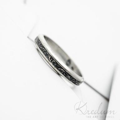 Retro snubní prsten 3 Flóra stříbro s patinou - SK3805