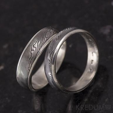 Luna - dřevo - stříbrný snubní prsten a damasteel