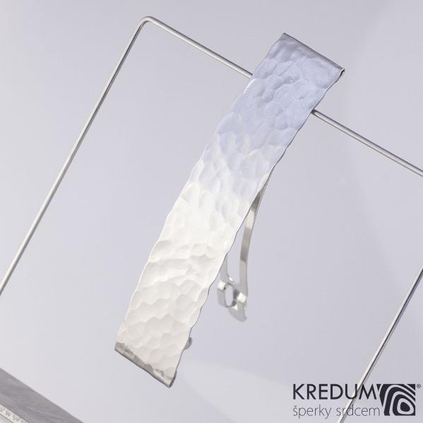 Tepaná nerezová spona do vlasů - Linka lesklá 8 cm, šířka 19 mm