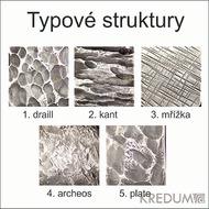 Provedení povrchu nerezových spon na opasek - Draill - Kant - Mřížka - Archeos - Plate