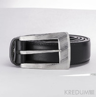 Luxusní damasteel spona - Meredius a kožený pásek