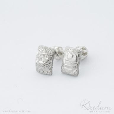 Moon Rocksteel mini kolečka světlá - kované damasteel náušnice - SK3973