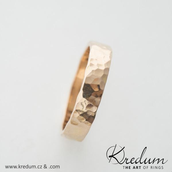Natura gold red - zlatý snubní prsten