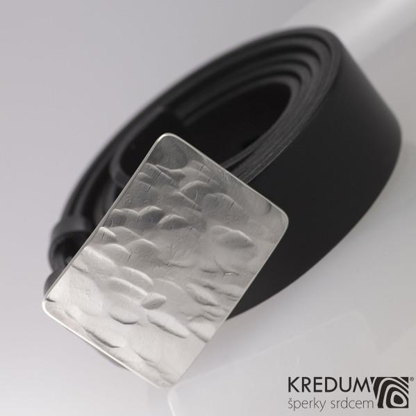 Kovaná stříbrná spona Mistr 3,5X SILVER a kožený opasek 3,5 cm - produkt č. 2024