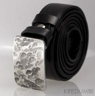 Kovaná nerez spona - Mistr 3X - Plate + černý pásek