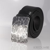 Kovaná nerez spona - Mistr 4X - Plate + černý pásek