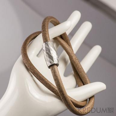 Samuel náhrdelník hnědý - Damasteel korálek