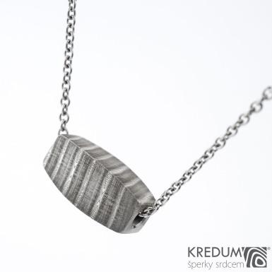 Damasteel korálek - Kovaný přívěsek, SK1343