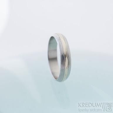 Duori white - 65, šířka 5,3 mm, tloušťka 1,7 mm, dřevo 75% SV, A - Snubní prsten Damasteel a bílé zlato - sk2395 (5)