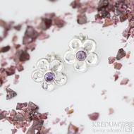 Flower a fialový zirkon - Stříbrné náušnice, SK2329 (2)