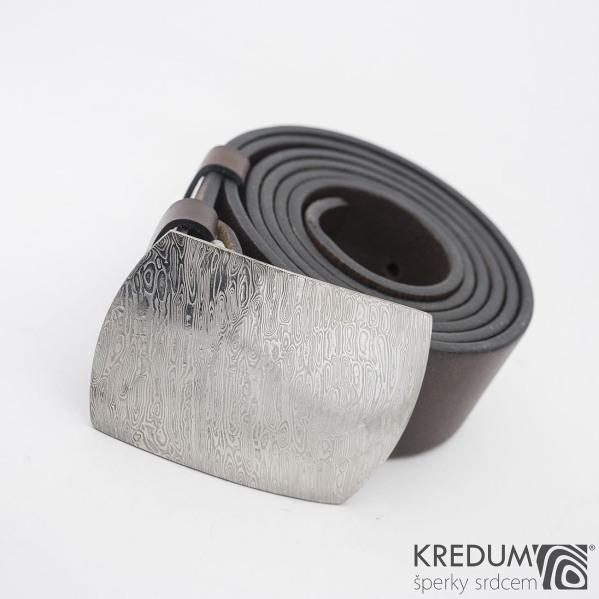 Gentleman 4 - Kožený opasek a kovaná spona damasteel - komplet - SK1109
