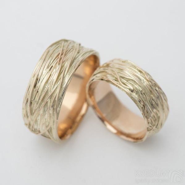 Gordik Mokume Gold red - Motaný prsten 7,5 mm