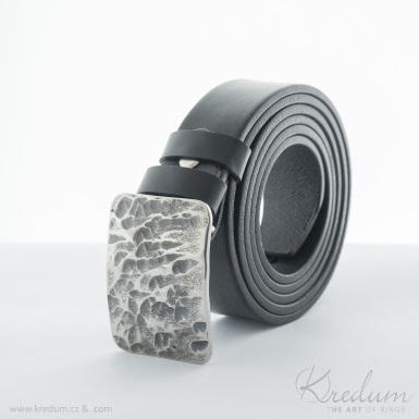 Kovaná nerez spona - Mistr 3X - Plate + kožený pásek 3X - SK4137