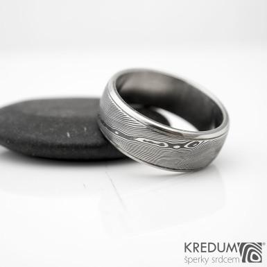 Kasiopea Steel - dřevo - Kovaný snubní prsten