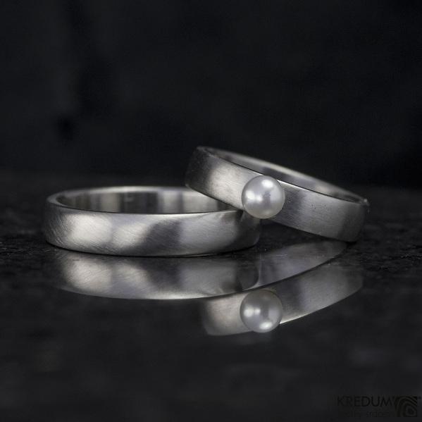 Klasik a perla - matný - nerezový prsten