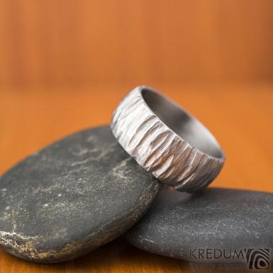 Klasik Bark - velikost 57, šířka 8, tloušťka 1,6, světlý, profil B - Nerezové snubní prsteny, SK1872 (2)