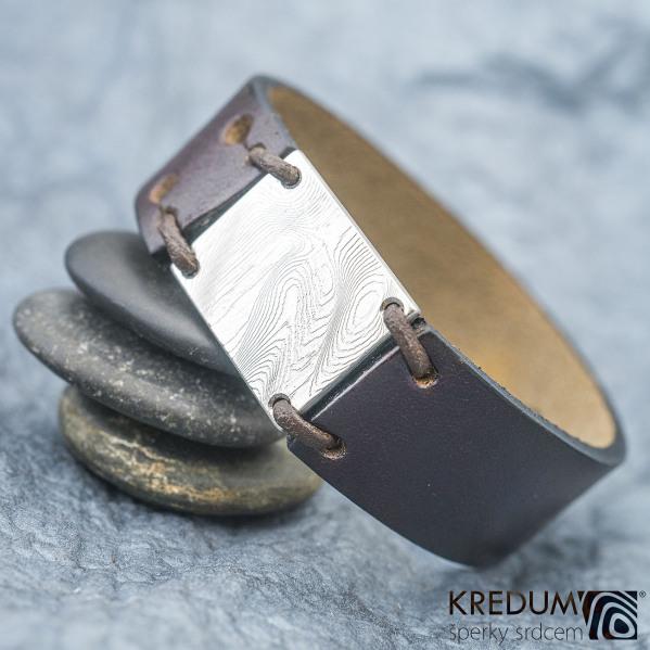 Kožený náramek - Manus 20 Damast XL hnědý