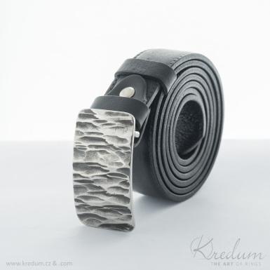 Kovaná nerez spona - Mistr 3X - Kant + kožený pásek 3X s prošitím - SK4138