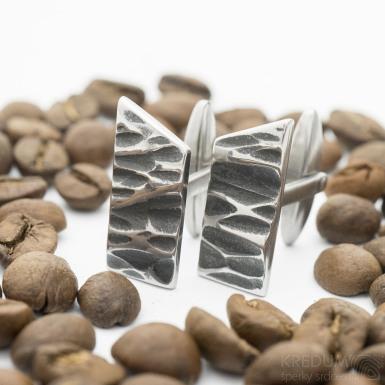 Manžetové knoflíčky Desk kant - nerezová ocel, prohlubně zatmavené