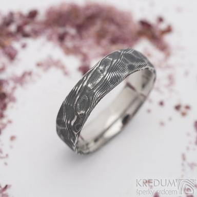 Natura damasteel - vzor dřevo - kovaný snubní prsten z nerezové oceli