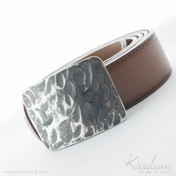 Kovaná nerez spona - Mistr 3,5X - Plate + kožený pásek s prošitím - SK4140