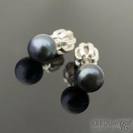 Perlové náušnice - přírodní perly - kiki black 5,3 mm (3)