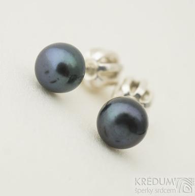 Kiki black 5 mm - Perlové náušničky