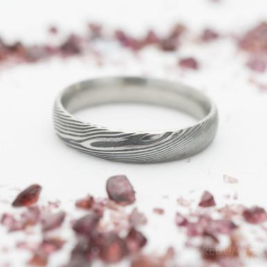 Prima - dřevo - Snubní prsten damasteel, SK2740