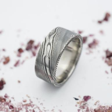 Prima - dřevo - velikost 50, šířka 7,5 mm, tloušťka stěny 1,6 mm, profil C - Snubní prsten damasteel - produkt SK2692