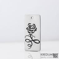Ocelová růže - Nerezový přívěsek a symbolická růžička, produkt SK1420