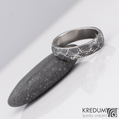 Rocksteel - kolečka - Snubní prsten damasteel, S2148