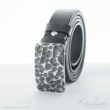 Kovaná nerez spona - Mistr 3X - Draill + kožený pásek 3X - SK4141