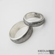Šrafované - font Segoe Script - rytí do stříbra (prsteny Luna)