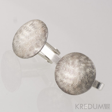 Mipapi  se stříbrným zapínáním - kolečka - manžetové knoflíčky damasteel, S1240