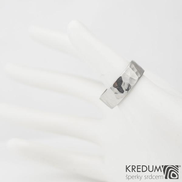 Prsten kovaná nerezová ocel - Draill světlý lesklý - vel. 57, S 976