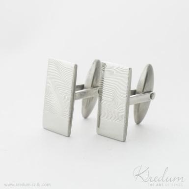 Pan Q - Kované manžetové knoflíčky damasteel s ploškou pro rytí, dřevo, světlé - SK4399