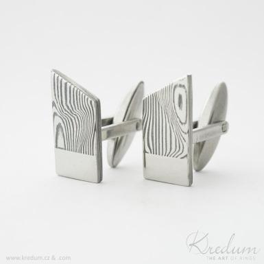 Desk zatmavené s ploškou pro rytí - Kované manžetové knoflíčky damasteel - SK4408