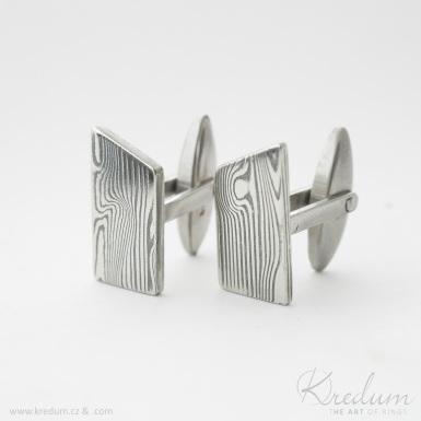 DESK - dřevo - kované manžetové knoflíčky damasteel - zatmavené - SK4409