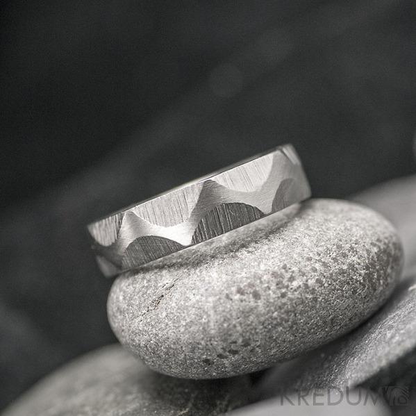 Snake - Nerezové snubní prsteny - velikost 52, šířka 5, tloušťka 1,5, matný - S1904 (3)