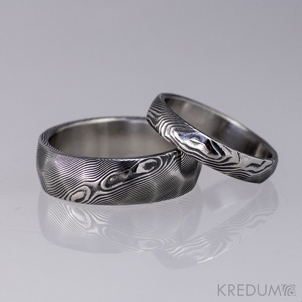 Snubní prsten damasteel - Rocksteel - dřevo tmavé - velikost 53/4 mm a 60/7 mm