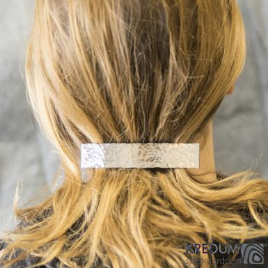 Tepaná linka lesklá  - základ 10 cm, šíře 2 cm - Nerezová spona do vlasů