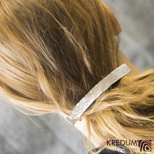 Linka draill lesklá - základ 10 cm, šíře 1,2 cm - Nerezová spona do vlasů