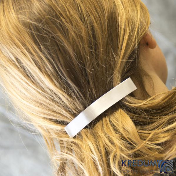 Hladká Linka lesklá - základ 10 cm, šíře 1,6 cm - Nerezová spona do vlasů