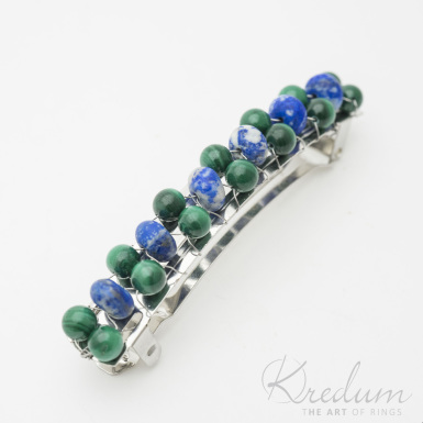 Perlová linka - Spona s Malachit a Lapis lazuli, 2 řady - 8 cm