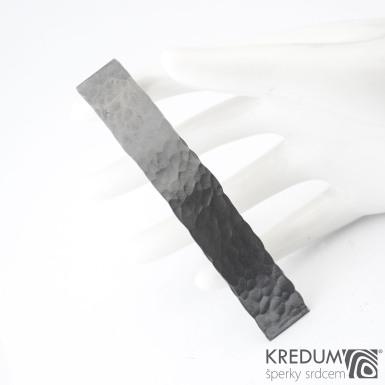 Linka draill tmavá - základ 8 cm, šířka 1,2 cm - Tepaná nerezová spona do vlasů