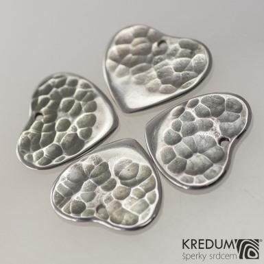 Trsátko ocel nerez kov - Heart - srdce - přední strana